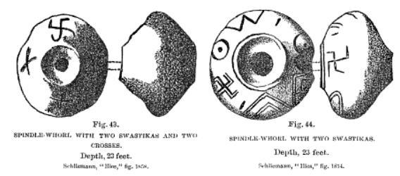 Disques à croix gammées trouvés par Schliemann (1874?)